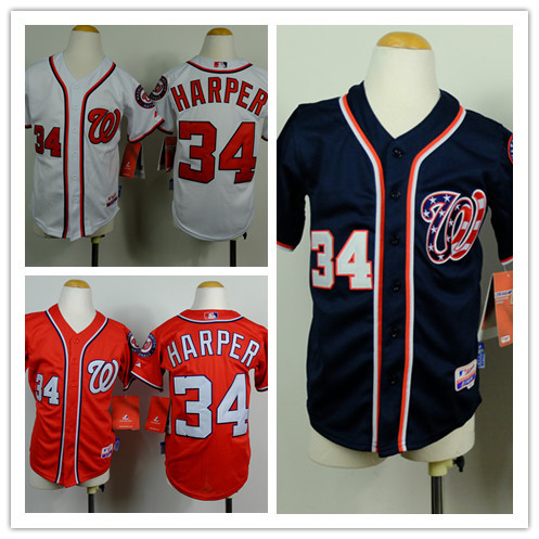 Гаджет  Kids Washington Nationals Baseball Jersey 34 Bryce Harper Youth Jersey  With 2014 World Series Patch Top Quality None Спорт и развлечения