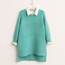 Discount woman sweater candy color on sides of the new thickening split before long after short knitting sweater woman clothing