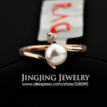 R121 Elegant Crystal Imitation Pearl Ring 18K Platinum Plated Made with Genuine Austrian Crystals Full Sizes Wholesale