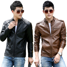 2016 Spring Autumn Leather Jacket Men Brand Thicken Plus Size Men Leather Jackets and Coats With Cottom Motorcycle Jacket M-5XL(China (Mainland))