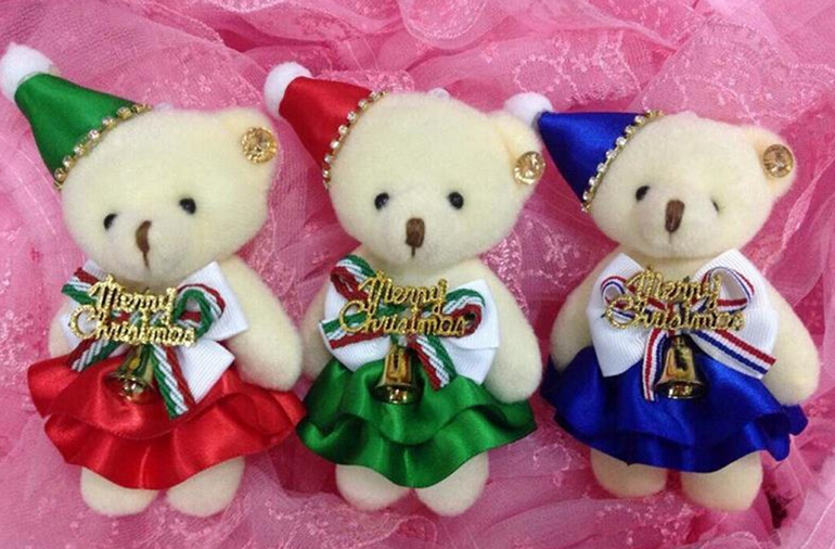 NEW 50pieces/lot 12cm Christmas bear plush bouquet material teddy plush toy wedding gift Christmas gift<br><br>Aliexpress