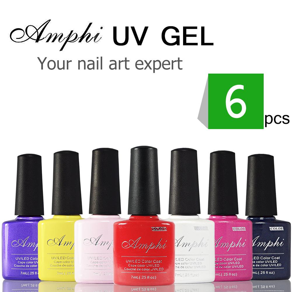 6Pcs/lot Base+Top coat Good Quality Soak Off UV Gel Polish For Salon Nail Gel Total 120colors(China (Mainland))