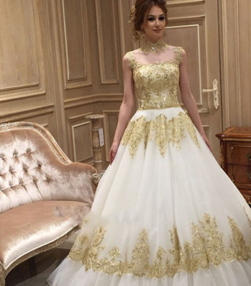 Buy white ivory wedding dress gold high for White and gold wedding dresses