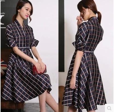 2015 Spring Autumn women's Fashion Cute Dress Plaid Pattern Half sleeve Slim Waist Large Hem V-neck - True Store store