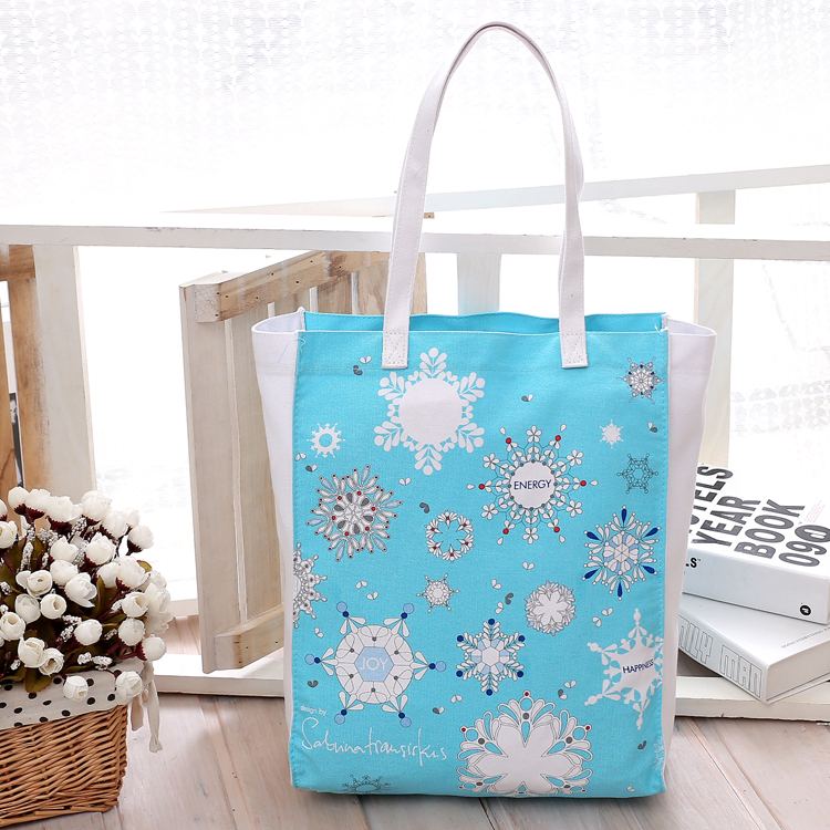 Free Shipping Canvas Shopping Bags Blue color with Florals Pattern Women Handbags Shoulder Bags Shopping Bag(China (Mainland))