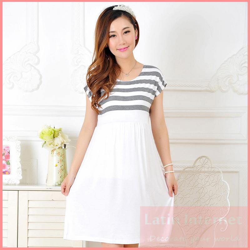 Maternity Dress Casual Cotton Summer Dress Maternity Wear Plus Size Patchwork Stripe Pattern Pregnancy Dress Vestido Amarelo(China (Mainland))