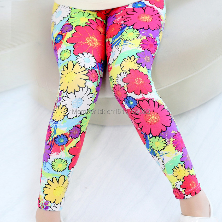 2015 Rushed Girls Leggings Kids Children's Autumn Clothing Child Trousers Female Children Pants Legging Colorful In The Flowers(China (Mainland))