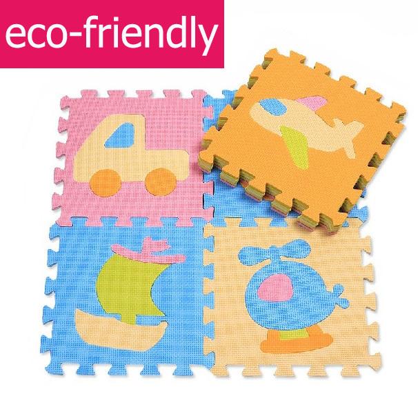 Ecofriendly Cool Traffic Vehicles Floor Mat Kids Boys EVA Foam Mosaic Tapete Rugs Baby Crawling Pad 30CM*30CM*9PCS(China (Mainland))