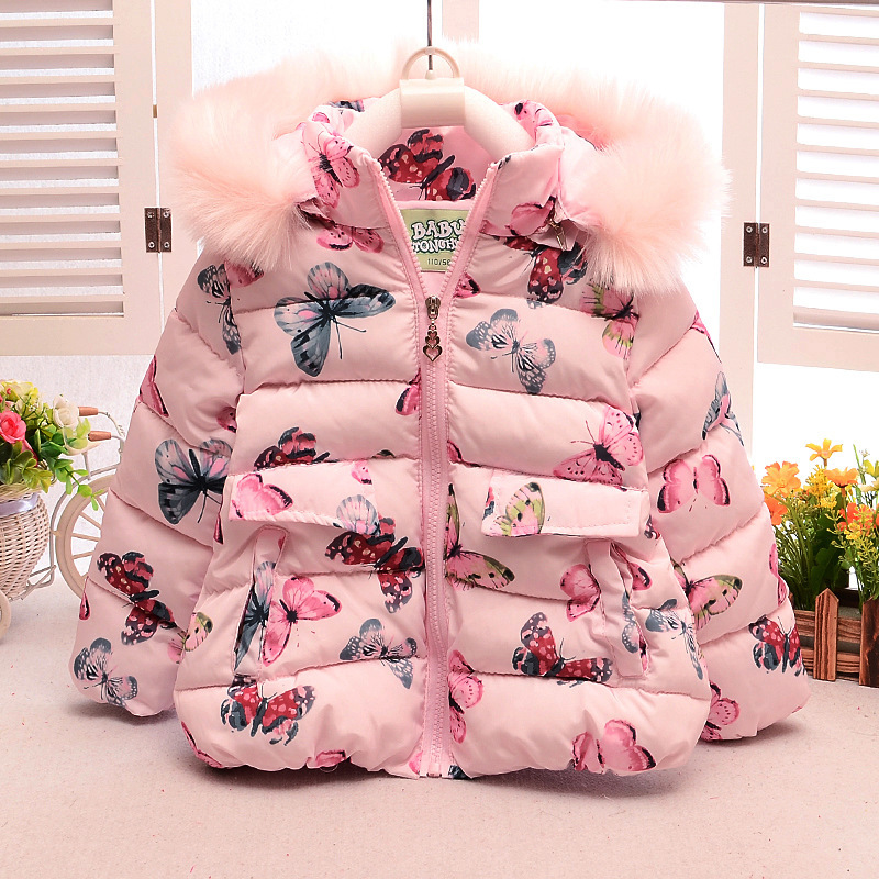 Cute Butterfly Winter Children's Jacket with a Hood for Girls Coats Kids Clothes Baby Toddlers Outerwear 2016 BO(China (Mainland))