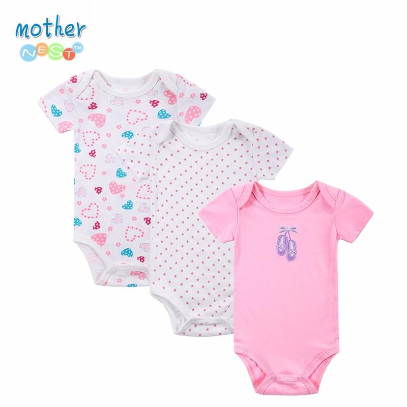100% Cotton Baby Bodysuit 3pieceslot Newborn Cotton Body Baby Short Sleeve Underwear Next Infant Boy Girl Pajamas Clothes (2)