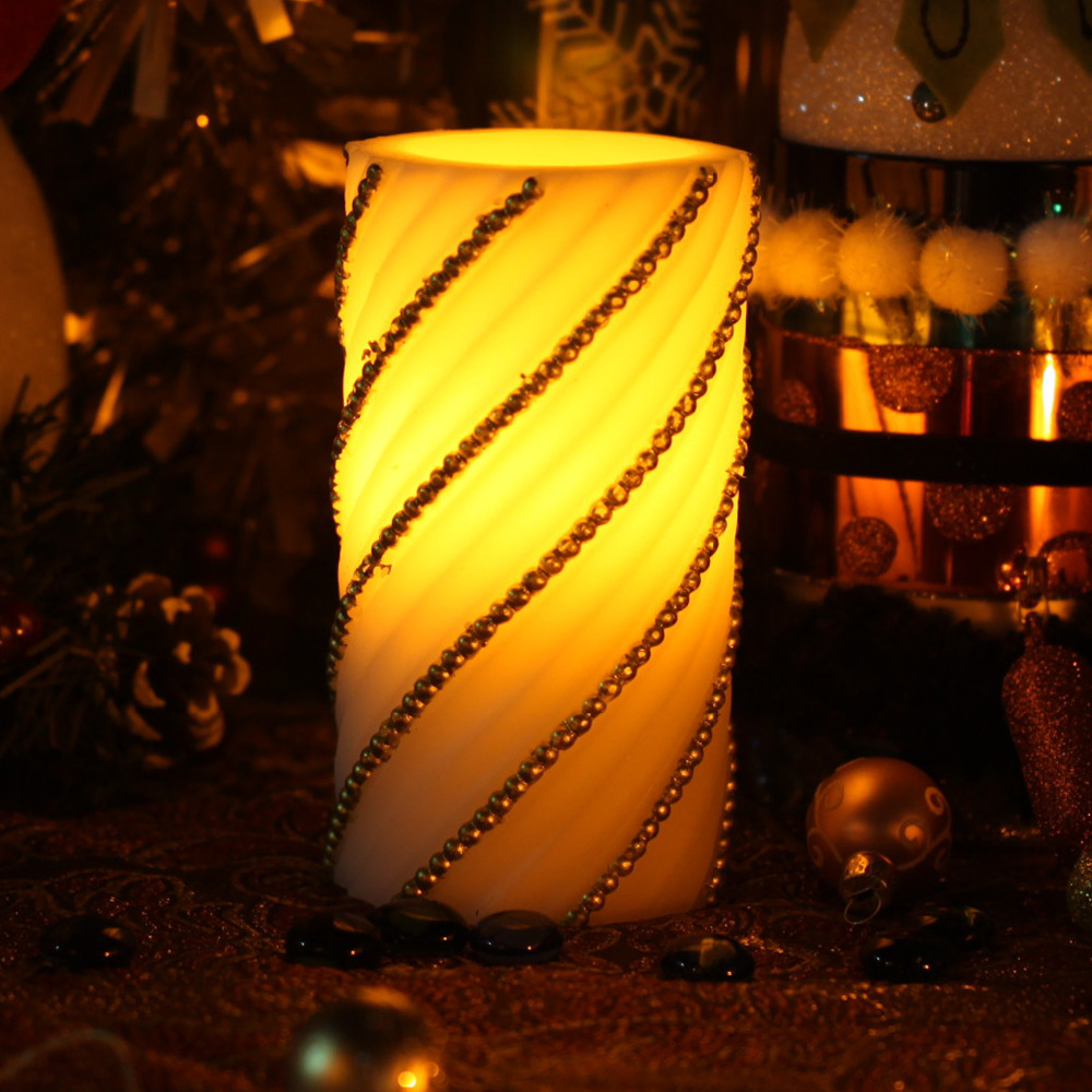 Home impressions Battery Operated Embossed Gold Pearl Flameless Real Wax Pillar LED Candle with 4&8 Hours Timer(China (Mainland))