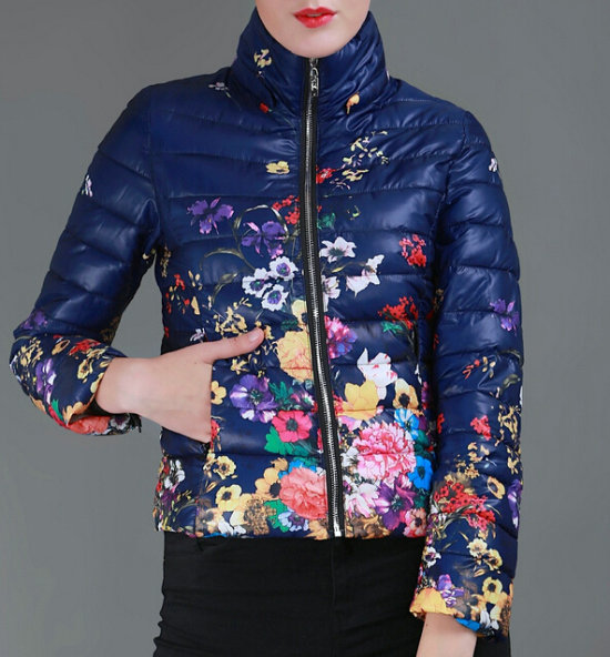 2015 New Arrival Plus Size Winter Jacket Women Fashion Down Cotton Jacket Floral Printing Long Sleeve Slim Short Coat G128-6Одежда и ак�е��уары<br><br><br>Aliexpress