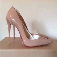 New 2015 Women Sexy Pointed Toe Red Bottom High Heels Women Shoes Ladies Stylish High Heel Wedding Party Pumps Red Black Nude(China (Mainland))