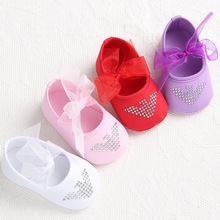 2015 Fashion Princess Girls Sweet Newborn Baby Mary Jane First Walkers Shoes Infant Babe Soft Soled Shoes 4 Colors 3 Size(China (Mainland))