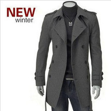The new winter coat fashion coat badges in the long section double-breasted coat Men's coat pure surface(China (Mainland))