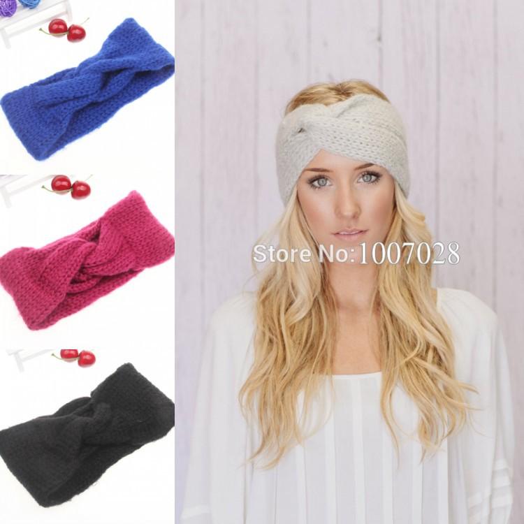 Cable Knitting Patterns For Scarves : Twist crochet headband cross knitted head wrap for women girl ear warmer wint...