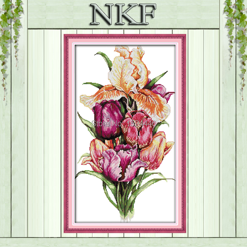 Noble tulips flowers home Decor painting counted printed on canvas DMC Set 11CT 14CT NKF needlework embroidery Cross Stitch kits(China (Mainland))