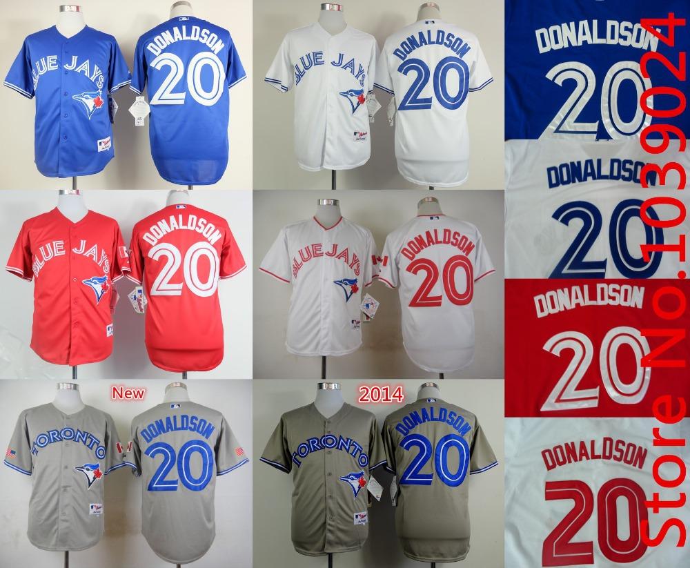 Drop Shipping Men's 20 Josh Donaldson Jersey Blue White Red New Arrival Toronto Blue Jays Josh Donaldson Jersey Size M--3XL(China (Mainland))