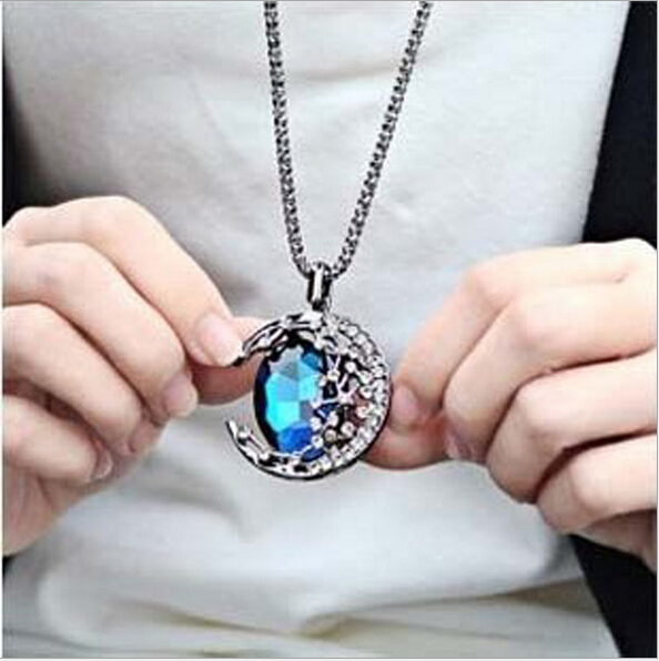crystal moon vampire diaries long necklaces & pendants fashion pendant women popular jewelry accesories for women necklace 2015(China (Mainland))