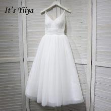 זה YiiYa חתונת שמלת צווארון V ספגטי רצועות תחרה עד קרסול אורך חתונת שמלות כלה אירוסין אלגנטי לבן שמלות G008(China)