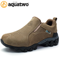 2016 New Men Outdoor Trekking Shoes Full Grain Leather Autumn Winter Breathable Slip On Shoes US5