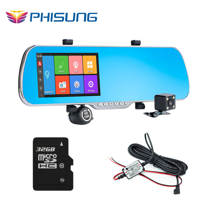 """Android GPS car rearview mirror camera dvr +Dual Lens with back rear cam+ 5.0"""" IPS Screen+RAM 512MB ROM 16GB+32GB TF card(China (Mainland))"""