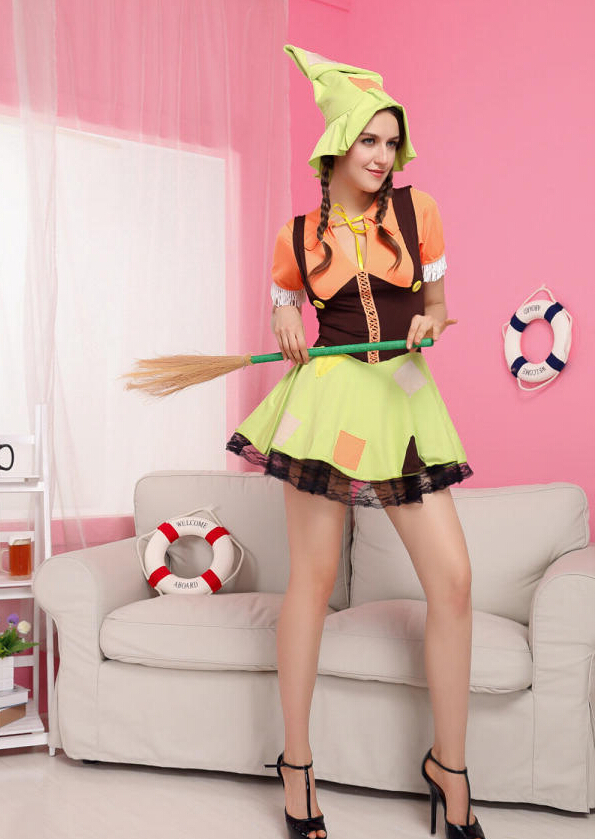 new Sexy Halloween Female clothes Female Playful female farmer loaded Cosplay Costume free Size for Halloween hot sale(China (Mainland))
