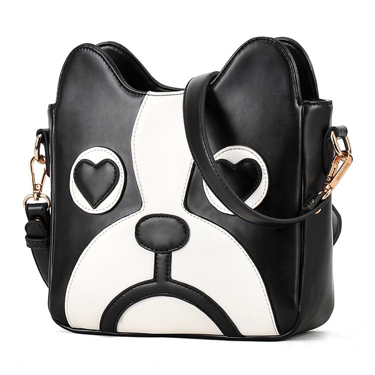 Black White Cut Dog Cross Body Bag Heart Eyes Satchel Shoulder Bags Chian Women Messenger Bags Cartoon Cheap Leather Handbag(China (Mainland))