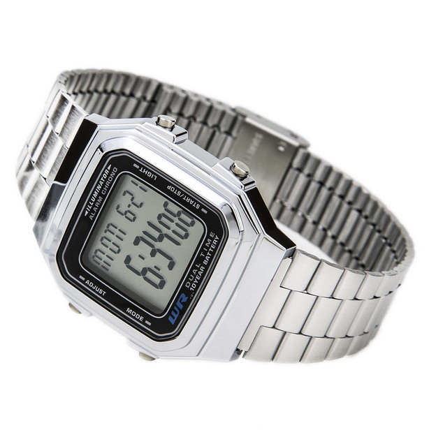 New silver Cassio digital watch square waterproof military men sports watches watch women LED Couple Watch XS0710(China (Mainland))
