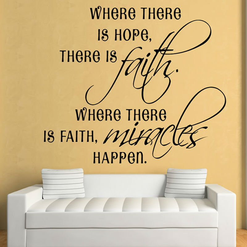 Where there is faithmiracles happen art vinyl wall decal home decor living room diy backgroud inspirational wall sticker