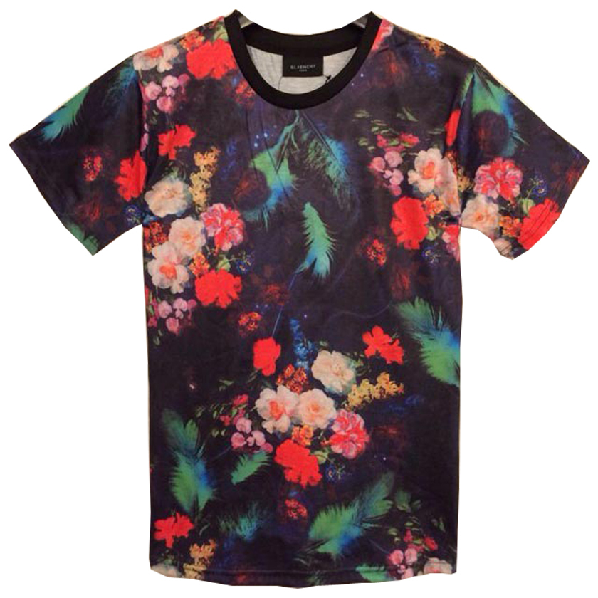 new style 3D series red flowers pattern printing men's t shirts,fashion Personalized male cotton T-shirt  free shipping T4(China (Mainland))
