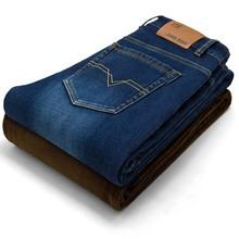 2018 nuevos hombres actividades caliente vaqueros alta calidad marca famosa Otoño Invierno Jeans caliente flocado cálido suave de los hombres pantalones vaqueros(China)