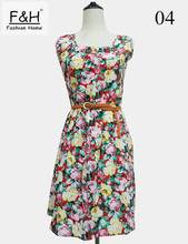 F&H Brand S M L XL XXL 20 Colors Fashion Women New Desigual Sleeveless Round Neck Florals Saias Femininas Waistband Print Dress(China (Mainland))