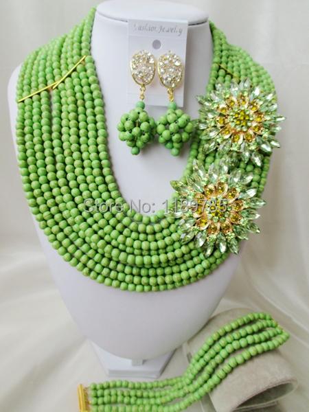 Fashion Nigerian African Wedding Beads Jewelry Set , Stone Necklace Bracelet Earrings Set A-8302<br><br>Aliexpress