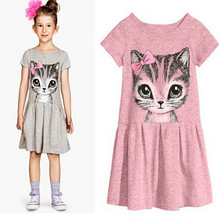 2016 New Arrival summer girl dress cat print grey baby girl dress children clothing children dress 2-10years(China (Mainland))