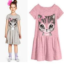 2016 neue Ankunft sommer mädchen kleid katzendruck grau baby mädchen kleid kinder kleidung kinder kleid 2-10years(China (Mainland))