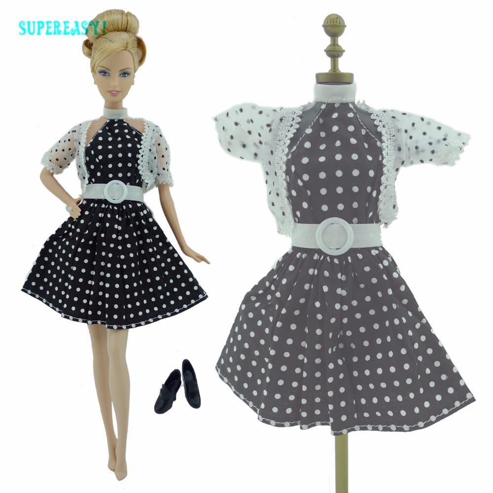 Vogue Classical Black Costume Trendy Wave Level Skirt Belt White Scarf Footwear Garments For Barbie Doll Dollhouse Equipment Present