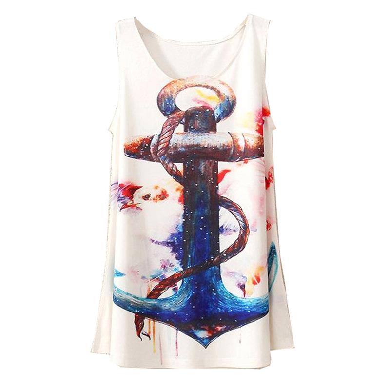 2015 New Style Fashion Vintage Spring Summer Women Sleeveless Graphic Print Digital Printing T Shirt Tee Blouse Vest Tank Tops(China (Mainland))