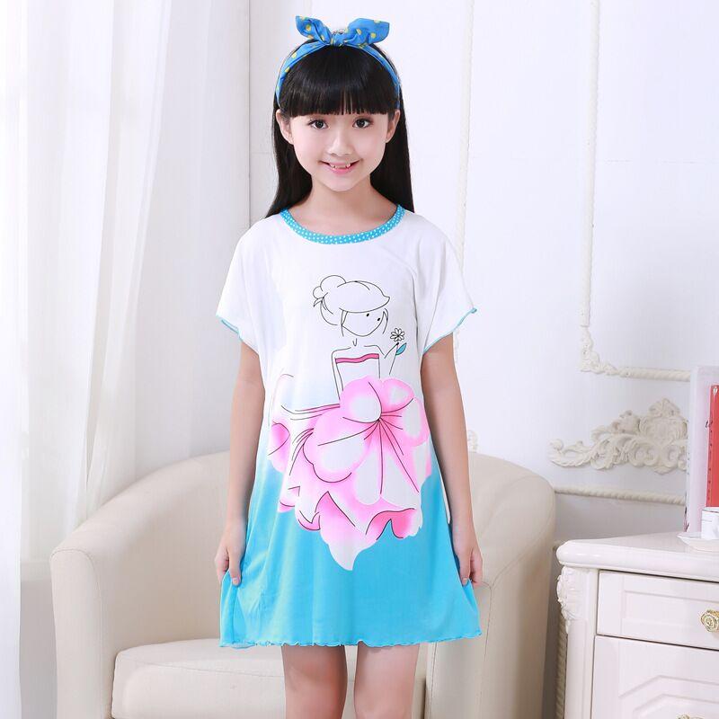 Hello Kitty Girls Nightgown Sleepwear Dress Kid Cotton Princess Cartoon Summer Pajamas Dress Girl Children Clothes Nightgowns(China (Mainland))
