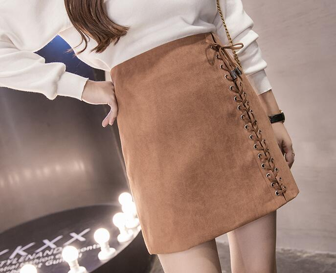 2017 spring autumn new Korean version fashion Sweet casual Wild Suede A-line woman girl skirt Lace-up Straps mini skirt