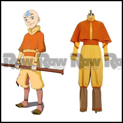 Avatar The Last Airbender Cosplay Aang Costume role playing clothing for Halloween Party Carnival of Avatar for women RAW0038(China (Mainland))