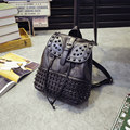Edgy Rivets Belt Buckle Ornament Women New Fashion Washable Leather Backpack Designer Drawstring Trendy Patchwork Travel
