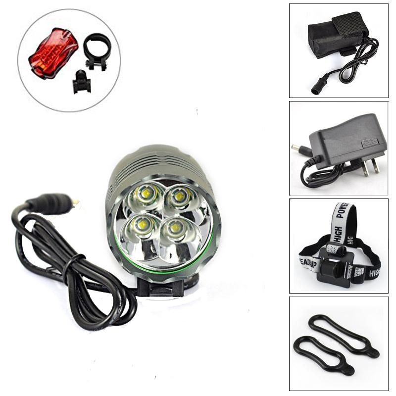 New Arrival 5000 Lumen 4 x CREE XM-L T6 LED Bicycle Lamp Bike led light Headlight Waterproof Design 6400Mah Battery + Taillight<br><br>Aliexpress