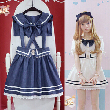 New Preppy style Sailor collar girls dress Bow tie Cute Lolita Japanese&Korea style one piece Navy Blue &White free shipping(China (Mainland))