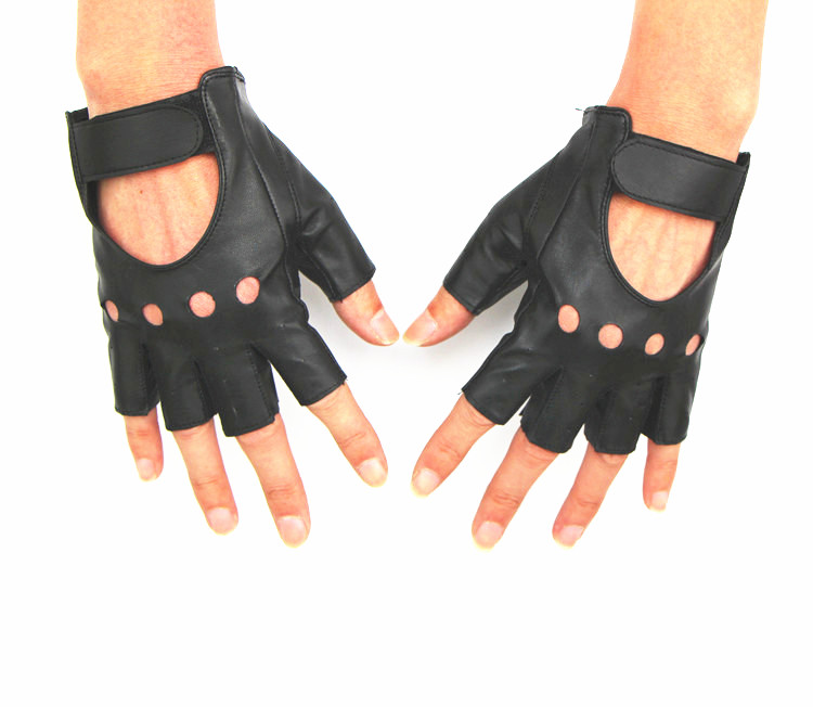 Fashion man Fingerless Leather Vented Black Glove with Velcro Motorcycle Gloves [free shipping](China (Mainland))