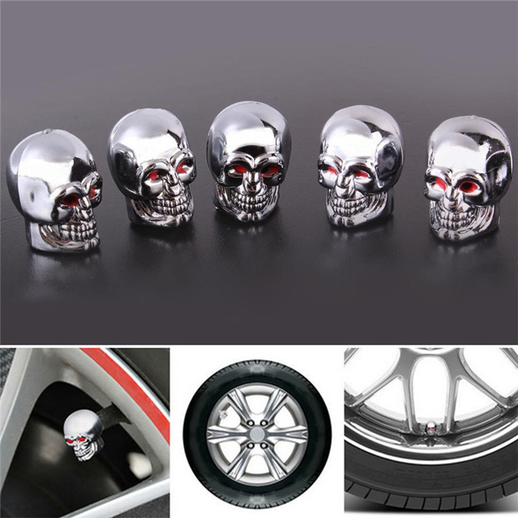New Arrival New Arrival Fashion 5pcs Skull Tire Tyre Wheel Car Auto Valves Caps Dust Stem Cover Motocycle Bicycle Free Shipping(China (Mainland))