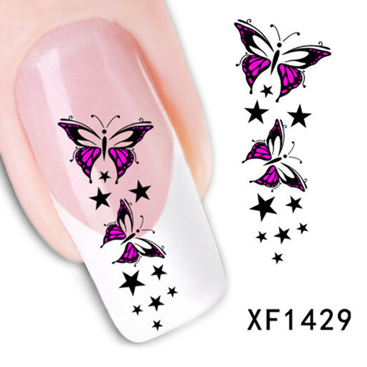 [D-XFXF1429] 1 Sheet XF1429 Trendy Colorful Butterfly Star Nail Tips Water Transfer Nail Stickers, Watermark(China (Mainland))