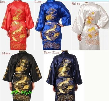 Free Shipping Chinese tradition Mens robe gown sleepwear Bathrobe Nightwear with Dragon Free shipping size S-XXXL S0008