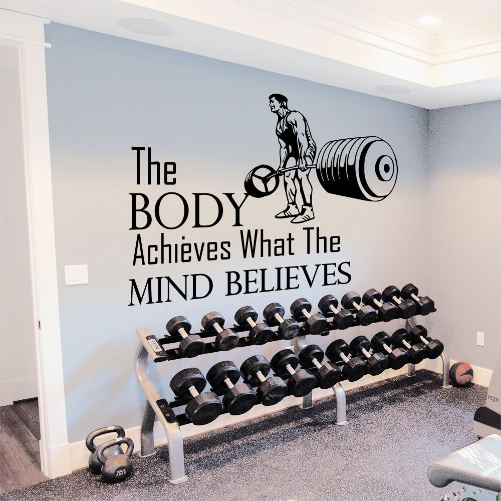 Fitness poster reviews online shopping fitness poster for Stickers para pared decorativos