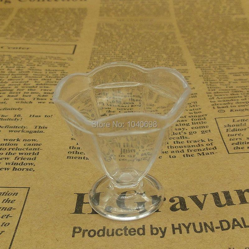 20pcs/lot Clear double flower goblet cup imitation PVC Plastic glass 34mm Artificial Parfait Cups Miniature Food Deco Part(China (Mainland))